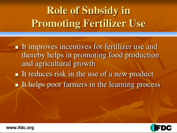 Role of Subsidy in