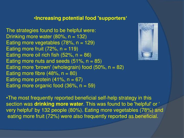 Increasing potential food 'supporters'