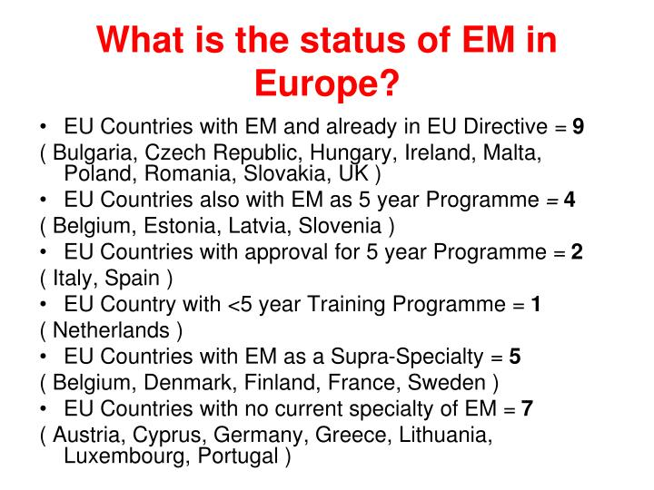 What is the status of EM in Europe?