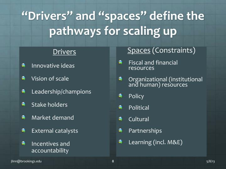 """""""Drivers"""" and """"spaces"""" define the pathways for scaling up"""