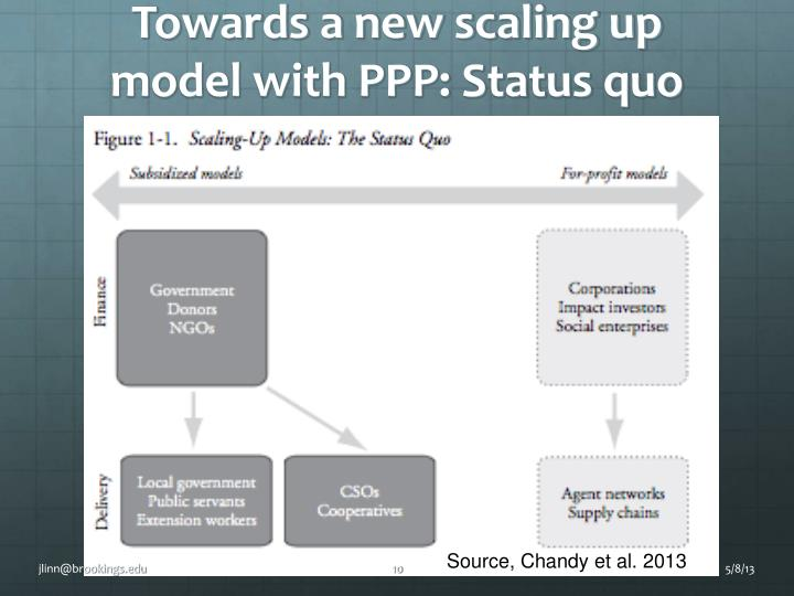 Towards a new scaling up model with PPP: Status quo