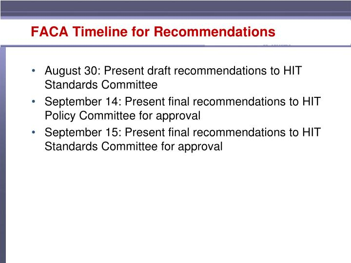 FACA Timeline for Recommendations