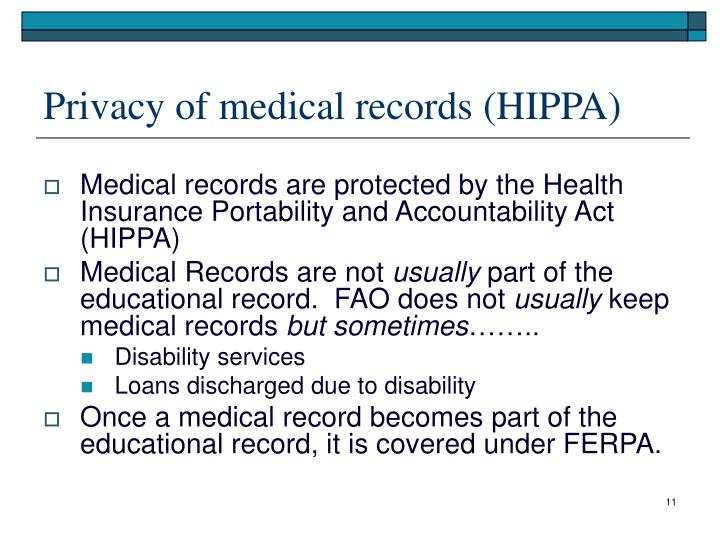 Privacy of medical records (HIPPA)