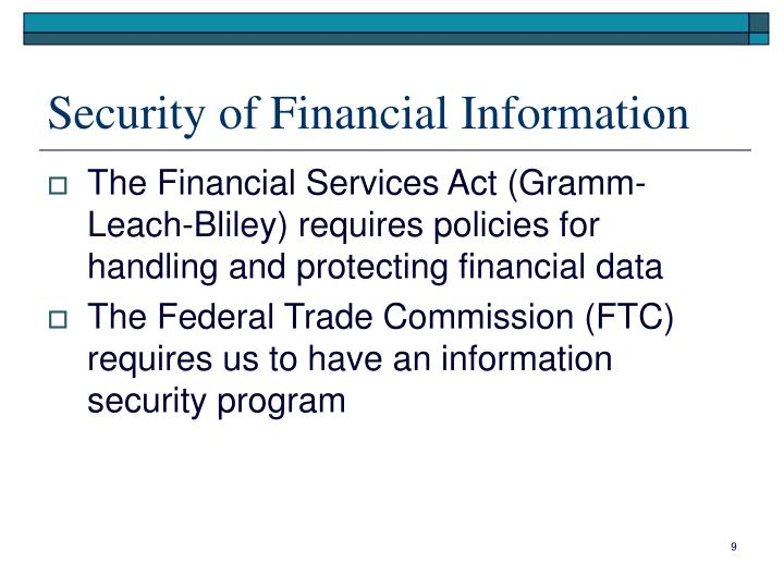 Security of Financial Information