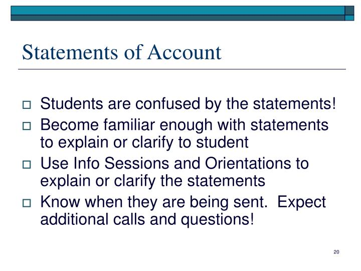Statements of Account