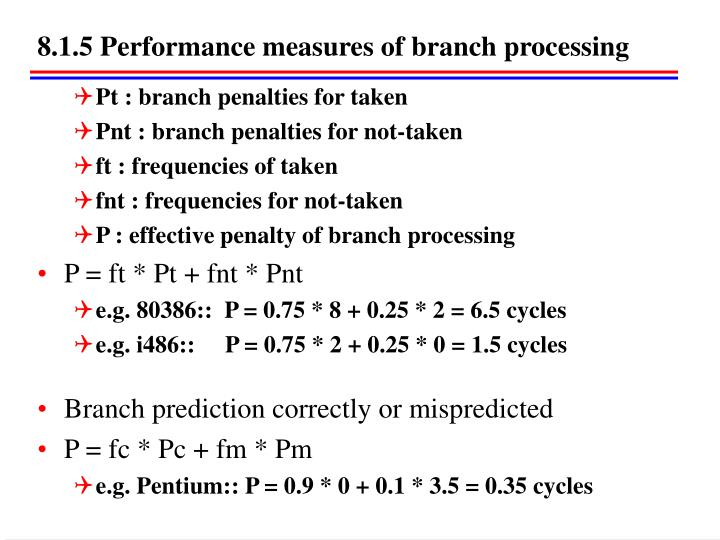 8.1.5 Performance measures of branch processing