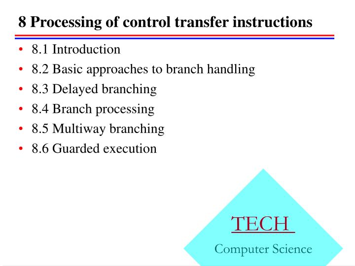 8 processing of control transfer instructions
