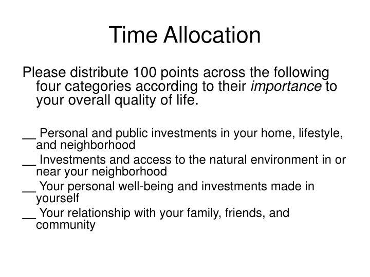 Time Allocation
