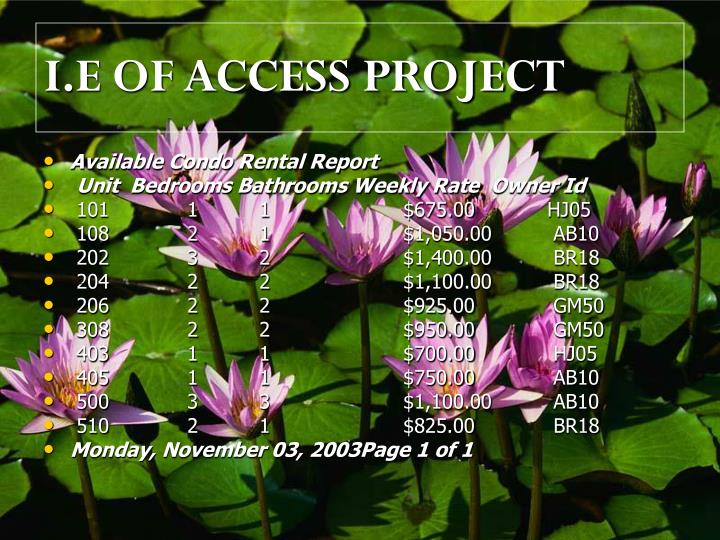 I.E OF ACCESS PROJECT