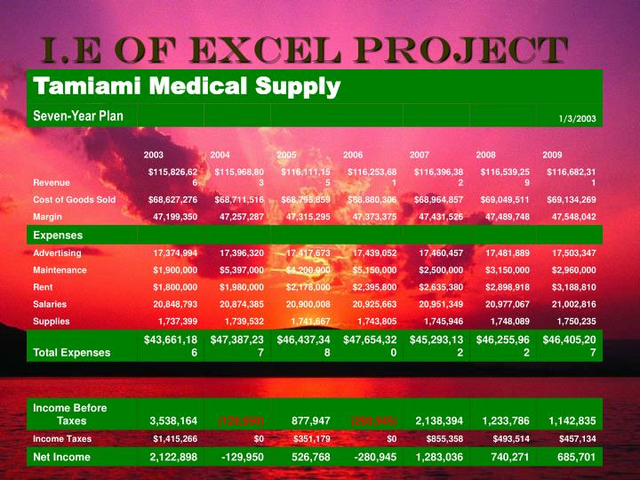 I e of excel project