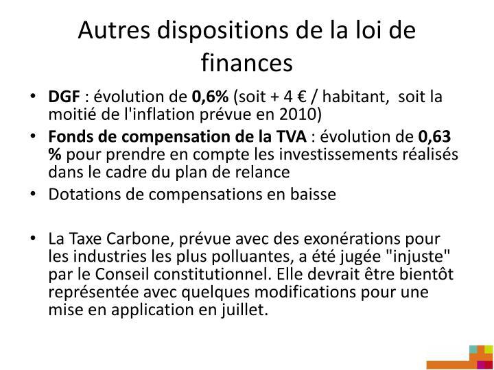 Autres dispositions de la loi de finances