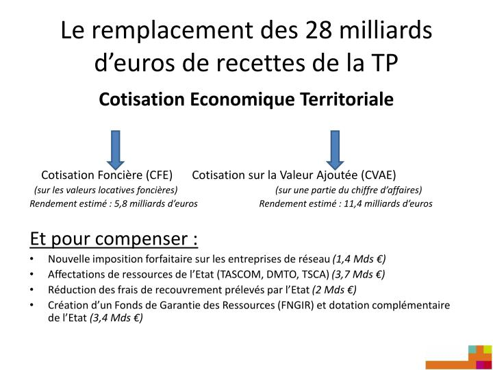 Le remplacement des 28 milliards d'euros de recettes de la TP
