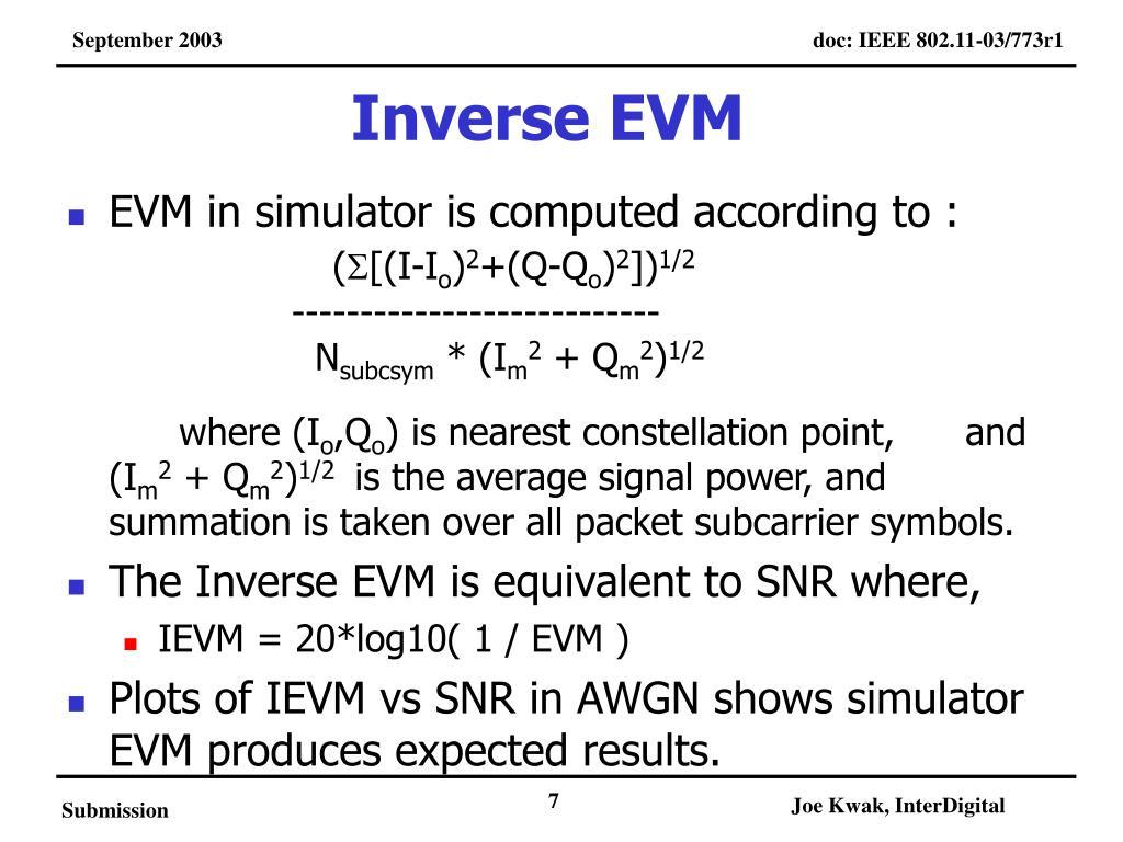 PPT - EVM SIMULATIONS FOR OFDM EVM vs BER data plots and data tables