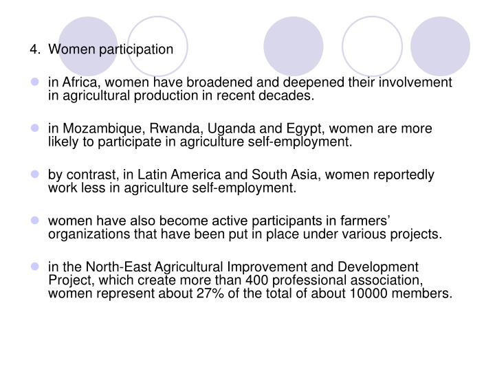4.	Women participation
