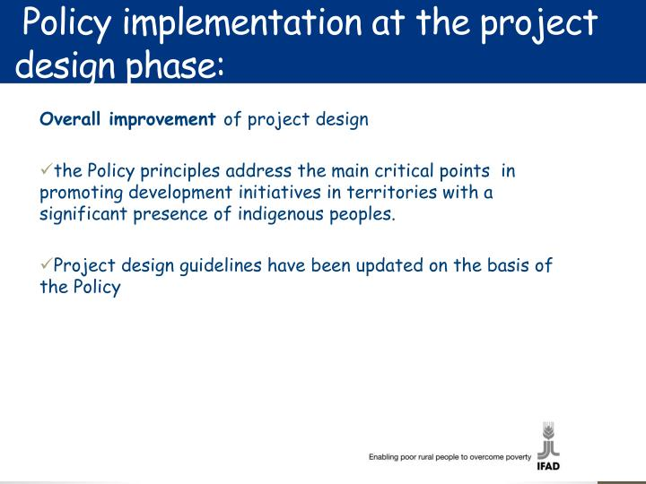 Policy implementation at the project design phase: