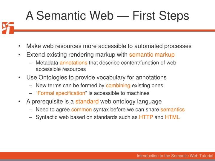 A Semantic Web — First Steps