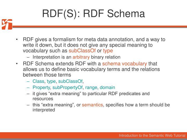 RDF(S): RDF Schema