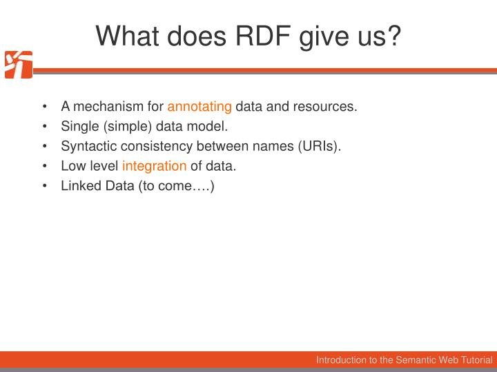 What does RDF give us?