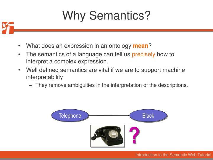 Why Semantics?