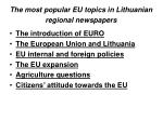 the most popular eu topics in lithuanian regional newspapers