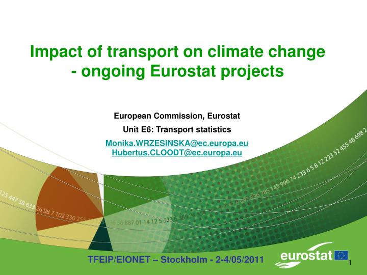 impact of transport on climate change ongoing eurostat projects n.