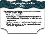 resigning from a job cont