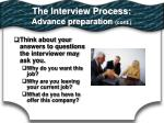 the interview process advance preparation cont