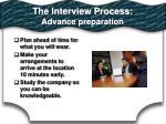 the interview process advance preparation