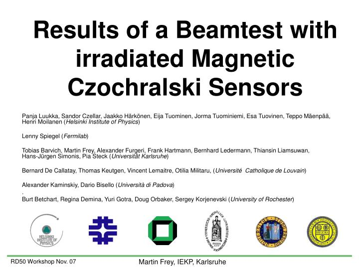 results of a beamtest with irradiated magnetic czochralski sensors n.