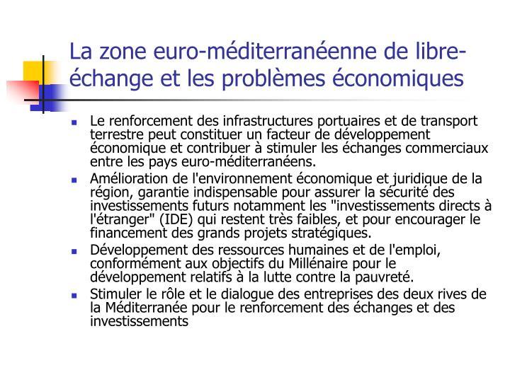 La zone euro-méditerranéenne de libre-échange et les probl