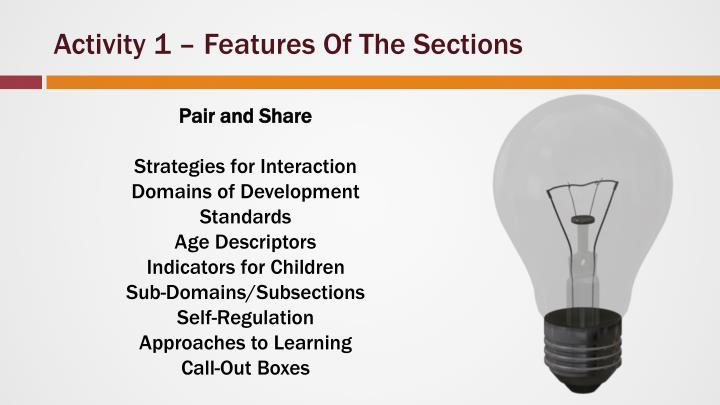 Activity 1 – Features Of The Sections