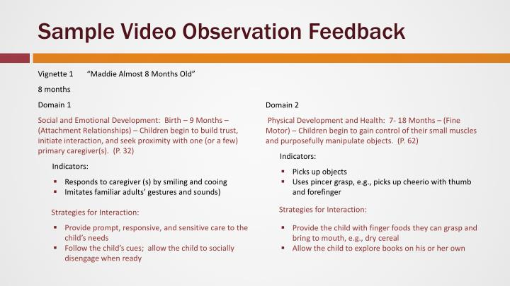 Sample Video Observation Feedback