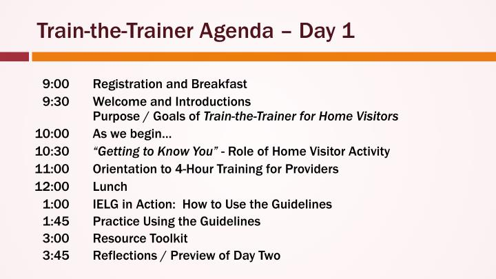 Train the trainer agenda day 1