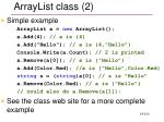arraylist class 2