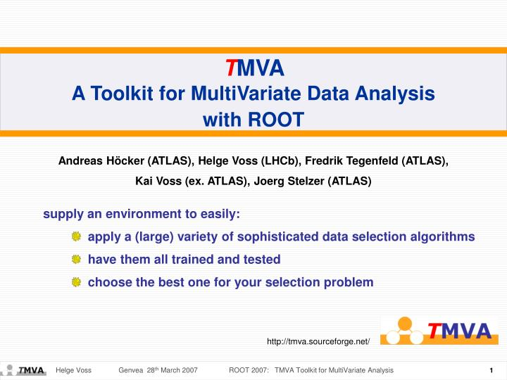 PPT - T MVA A Toolkit for MultiVariate Data Analysis with