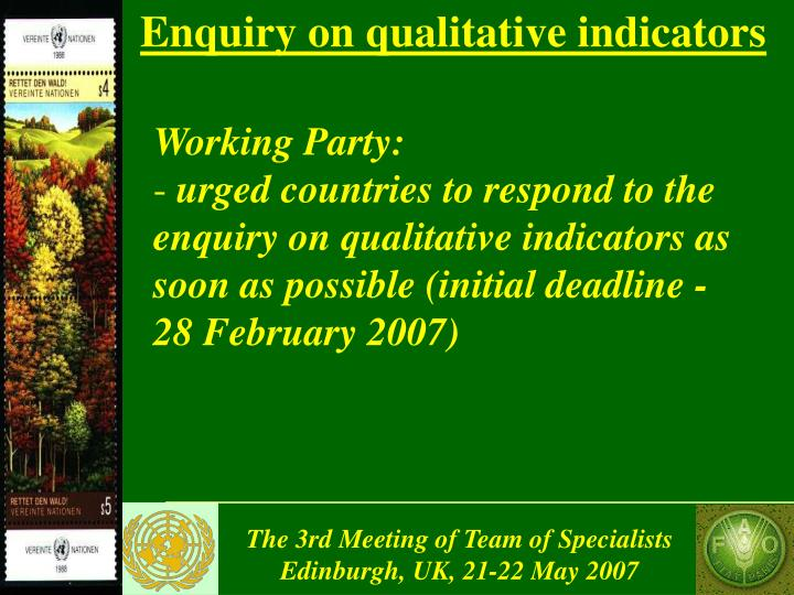 Enquiry on qualitative indicators