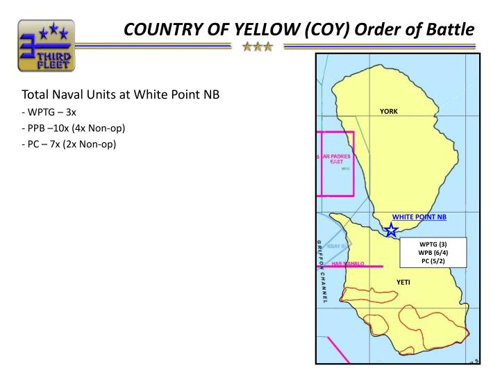 COUNTRY OF YELLOW (COY) Order of Battle