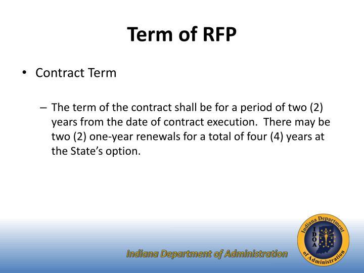 Term of RFP