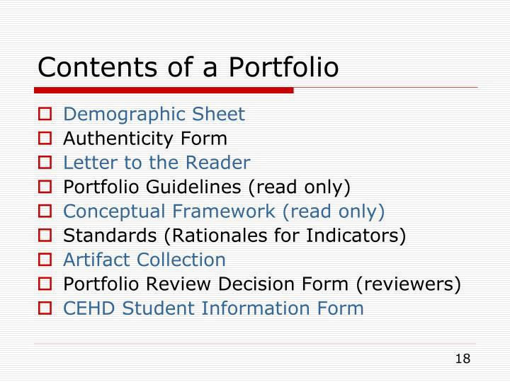 Contents of a Portfolio