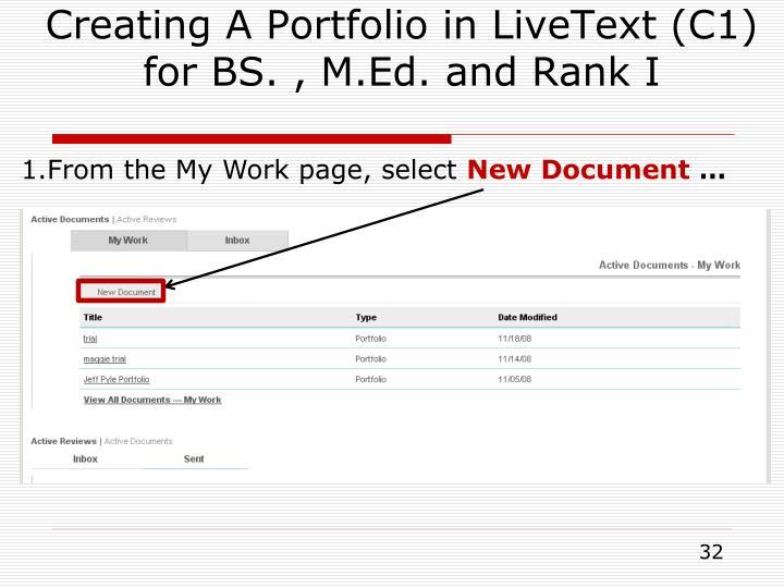 Creating A Portfolio in LiveText (C1)