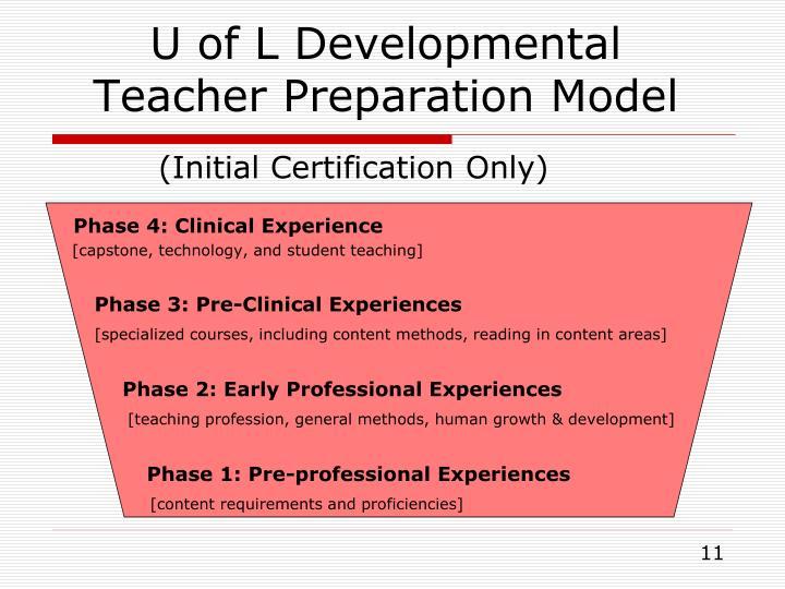 U of L Developmental Teacher Preparation Model