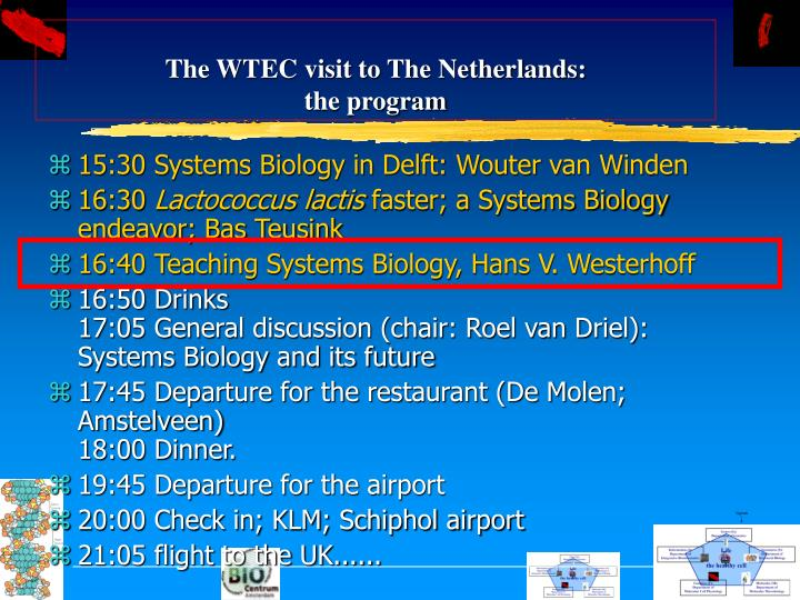 Ppt Systems Biology Today And Tomorrow The Wtec Visit