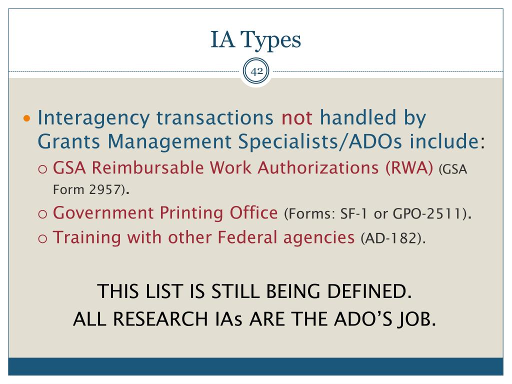 PPT - INTERAGENCY AGREEMENT (IA) TRAINING PowerPoint