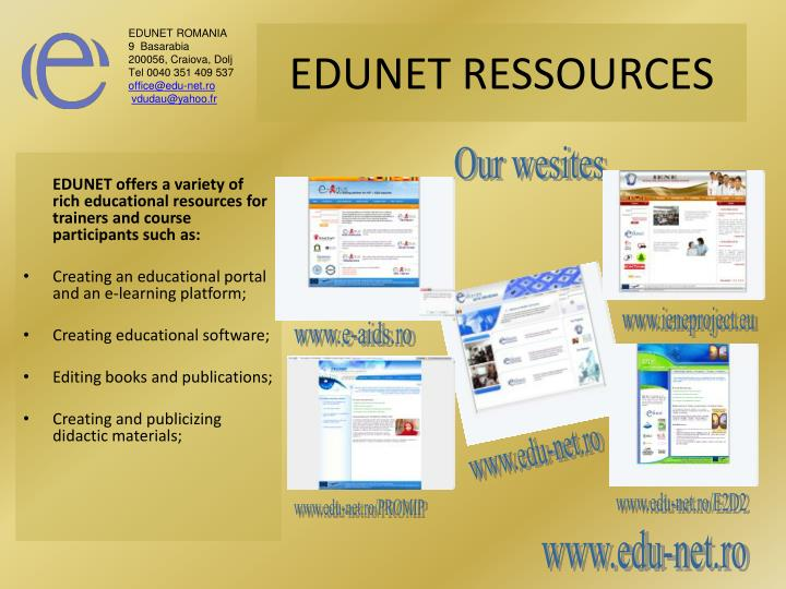 EDUNET offers a variety of rich educational resources for trainers and course participants such as: