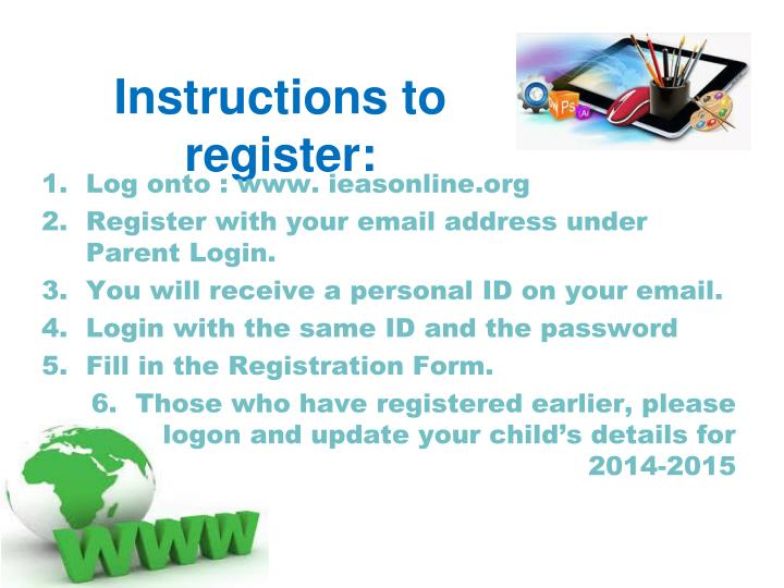 Instructions to register:
