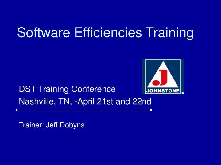 software efficiencies training n.