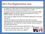 nc s pre registration law