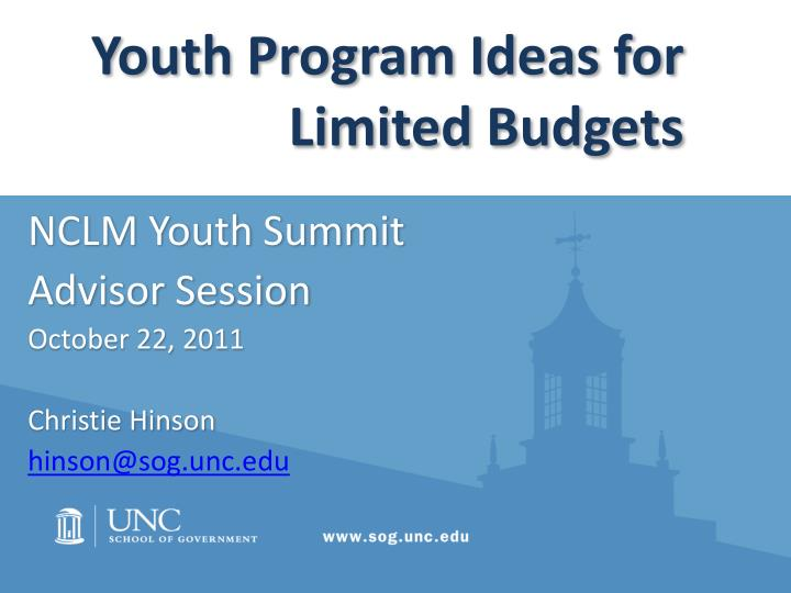 youth program ideas for limited budgets n.