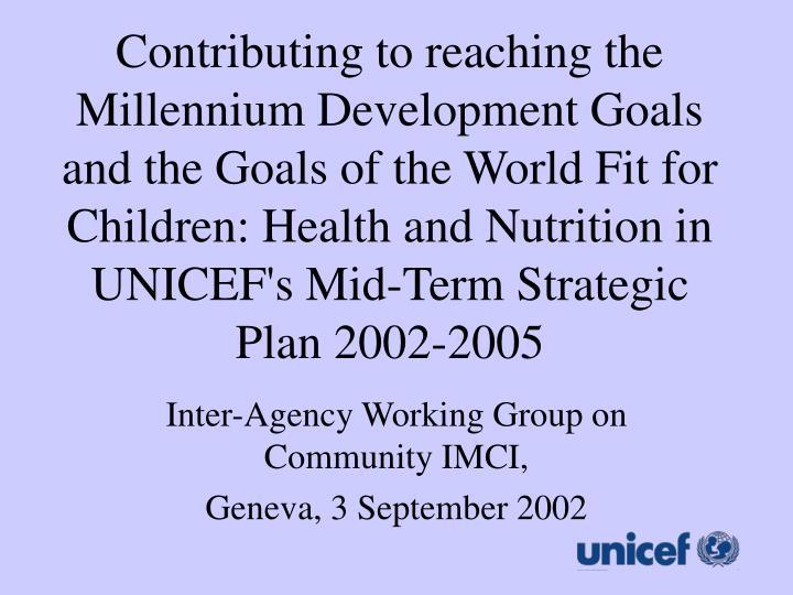 Inter agency working group on community imci geneva 3 september 2002