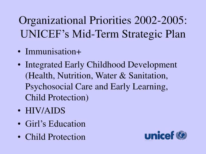 Organizational Priorities 2002-2005: UNICEF's Mid-Term Strategic Plan